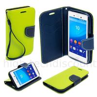 Housse etui coque pochette portefeuille pour Sony Xperia M4 Aqua + film ecran - VERT / BLEU