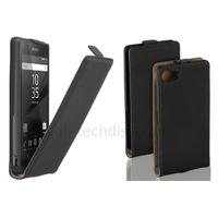 Housse etui coque pochette PU cuir fine pour Sony Xperia Z5 Compact + film ecran - NOIR