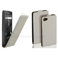 Housse etui coque pochette PU cuir fine pour Sony Xperia Z5 Compact + film ecran - BLANC