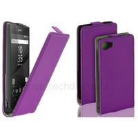 Housse etui coque pochette PU cuir fine pour Sony Xperia Z5 Compact + film ecran - MAUVE