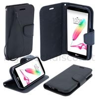 Housse etui coque pochette portefeuille pour LG G4 Stylus  + film ecran - NOIR / NOIR