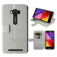 Housse etui coque pochette portefeuille pour Asus Zenfone 2 Laser ZE500KL + film ecran - BLANC