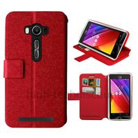 Housse etui coque pochette portefeuille pour Asus Zenfone 2 Laser ZE500KL + film ecran - ROUGE