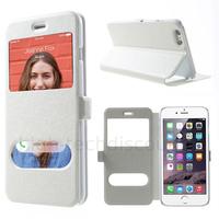 Housse etui coque portefeuille view case pour Apple iPhone 6S Plus (5.5) + film ecran - BLANC