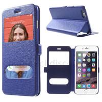 Housse etui coque portefeuille view case pour Apple iPhone 6 Plus (5.5) + film ecran - BLEU