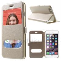 Housse etui coque portefeuille view case pour Apple iPhone 6 Plus (5.5) + film ecran - CHAMPAGNE