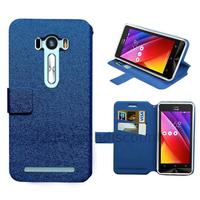 Housse etui coque pochette portefeuille pour Asus Zenfone Selfie ZD551KL + film ecran - BLEU