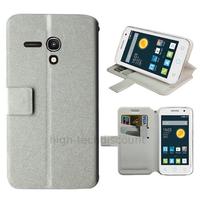 Housse etui coque pochette portefeuille pour Alcatel One Touch Pop 2 (4.0) 4045D - BLANC