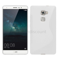 Housse etui coque pochette silicone gel fine pour Huawei Ascend Mate S + film ecran - BLANC