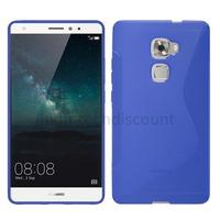 Housse etui coque pochette silicone gel fine pour Huawei Ascend Mate S + film ecran - BLEU