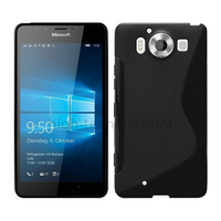 Housse etui coque pochette silicone gel fine pour Microsoft Lumia 950 + film ecran - NOIR