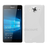 Housse etui coque pochette silicone gel fine pour Microsoft Lumia 950 + film ecran - BLANC