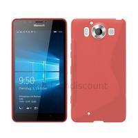 Housse etui coque pochette silicone gel fine pour Microsoft Lumia 950 + film ecran - ROUGE