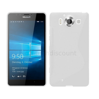 Housse etui coque pochette silicone gel fine pour Microsoft Lumia 950 + film ecran - TRANSPARENT