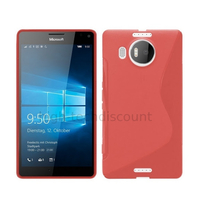 Housse etui coque pochette silicone gel fine pour Microsoft Lumia 950 XL + film ecran - ROUGE