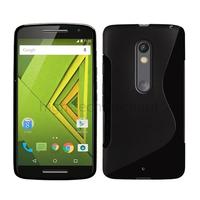 Housse etui coque pochette silicone gel fine pour Motorola Moto X Play + film ecran - NOIR