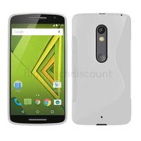 Housse etui coque pochette silicone gel fine pour Motorola Moto X Play + film ecran - BLANC