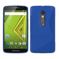 Housse etui coque pochette silicone gel fine pour Motorola Moto X Play + film ecran - BLEU