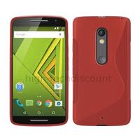 Housse etui coque pochette silicone gel fine pour Motorola Moto X Play + film ecran - ROUGE