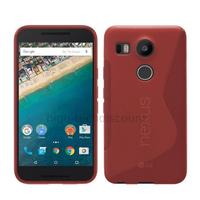 Housse etui coque pochette silicone gel fine pour LG Nexus 5X + film ecran - ROUGE