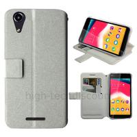 Housse etui coque pochette portefeuille pour Wiko Rainbow Jam 4G + film ecran - BLANC