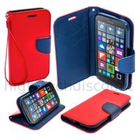 Housse etui coque pochette portefeuille pour Microsoft Lumia 550 + film ecran - ROUGE / BLEU