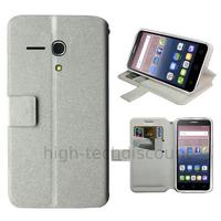 Housse etui coque pochette portefeuille pour Alcatel One Touch Pop 3 (5.5) + film ecran - BLANC