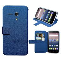 Housse etui coque pochette portefeuille pour Alcatel One Touch Pop 3 (5.5) + film ecran - BLEU