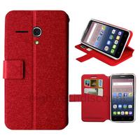Housse etui coque pochette portefeuille pour Alcatel One Touch Pop 3 (5.5) + film ecran - ROUGE