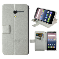Housse etui coque pochette portefeuille pour Alcatel One Touch Pop 3 (5.0) + film ecran - BLANC