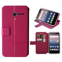 Housse etui coque pochette portefeuille pour Alcatel One Touch Pop 3 (5.0) + film ecran - ROSE