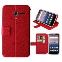Housse etui coque pochette portefeuille pour Alcatel One Touch Pop 3 (5.0) + film ecran - ROUGE
