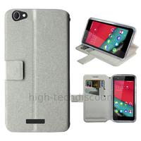 Housse etui coque pochette portefeuille pour Wiko Pulp 4G + film ecran - BLANC