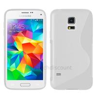 Housse etui coque pochette silicone gel fine pour Samsung i9600 Galaxy S5 New + film ecran - BLANC