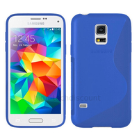 Housse etui coque pochette silicone gel fine pour Samsung i9600 Galaxy S5 New + film ecran - BLEU