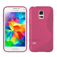 Housse etui coque pochette silicone gel fine pour Samsung i9600 Galaxy S5 New + film ecran - ROSE