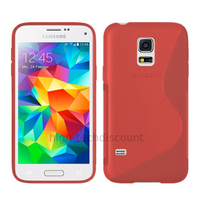 Housse etui coque pochette silicone gel fine pour Samsung i9600 Galaxy S5 New + film ecran - ROUGE