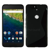 Housse etui coque pochette silicone gel fine pour Huawei Google Nexus 6P + film ecran - NOIR