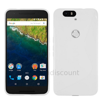 Housse etui coque pochette silicone gel fine pour Huawei Google Nexus 6P + film ecran - BLANC