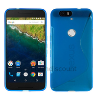 Housse etui coque pochette silicone gel fine pour Huawei Google Nexus 6P + film ecran - BLEU