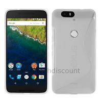Housse etui coque pochette silicone gel fine pour Huawei Google Nexus 6P + film ecran - TRANSPARENT