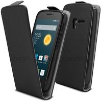Housse etui coque pochette PU cuir fine pour Alcatel One Touch Pop 3 (5.0) + film ecran - NOIR