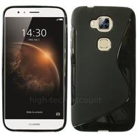 Housse etui coque pochette silicone gel fine pour Huawei Ascend G8 + film ecran - NOIR