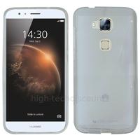 Housse etui coque pochette silicone gel fine pour Huawei Ascend G8 + film ecran - BLANC TRANSPARENT