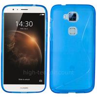 Housse etui coque pochette silicone gel fine pour Huawei Ascend G8 + film ecran - BLEU