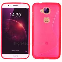 Housse etui coque pochette silicone gel fine pour Huawei Ascend G8 + film ecran - ROSE