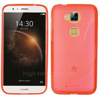 Housse etui coque pochette silicone gel fine pour Huawei Ascend G8 + film ecran - ROUGE