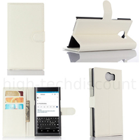 Housse etui coque pochette portefeuille pour Blackberry Priv + film ecran - BLANC