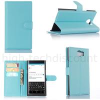 Housse etui coque pochette portefeuille pour Blackberry Priv + film ecran - BLEU