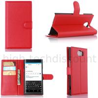 Housse etui coque pochette portefeuille pour Blackberry Priv + film ecran - ROUGE